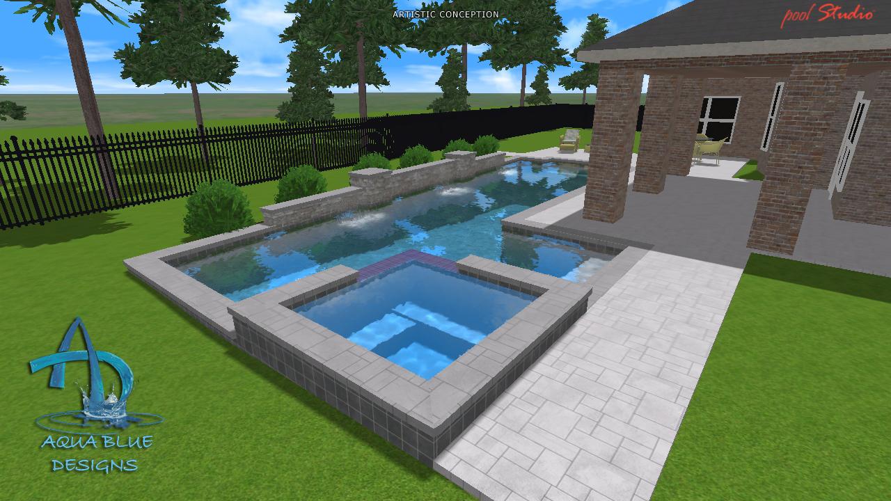 Aqua blue designs 3d pool studio designs for Pool design 3d