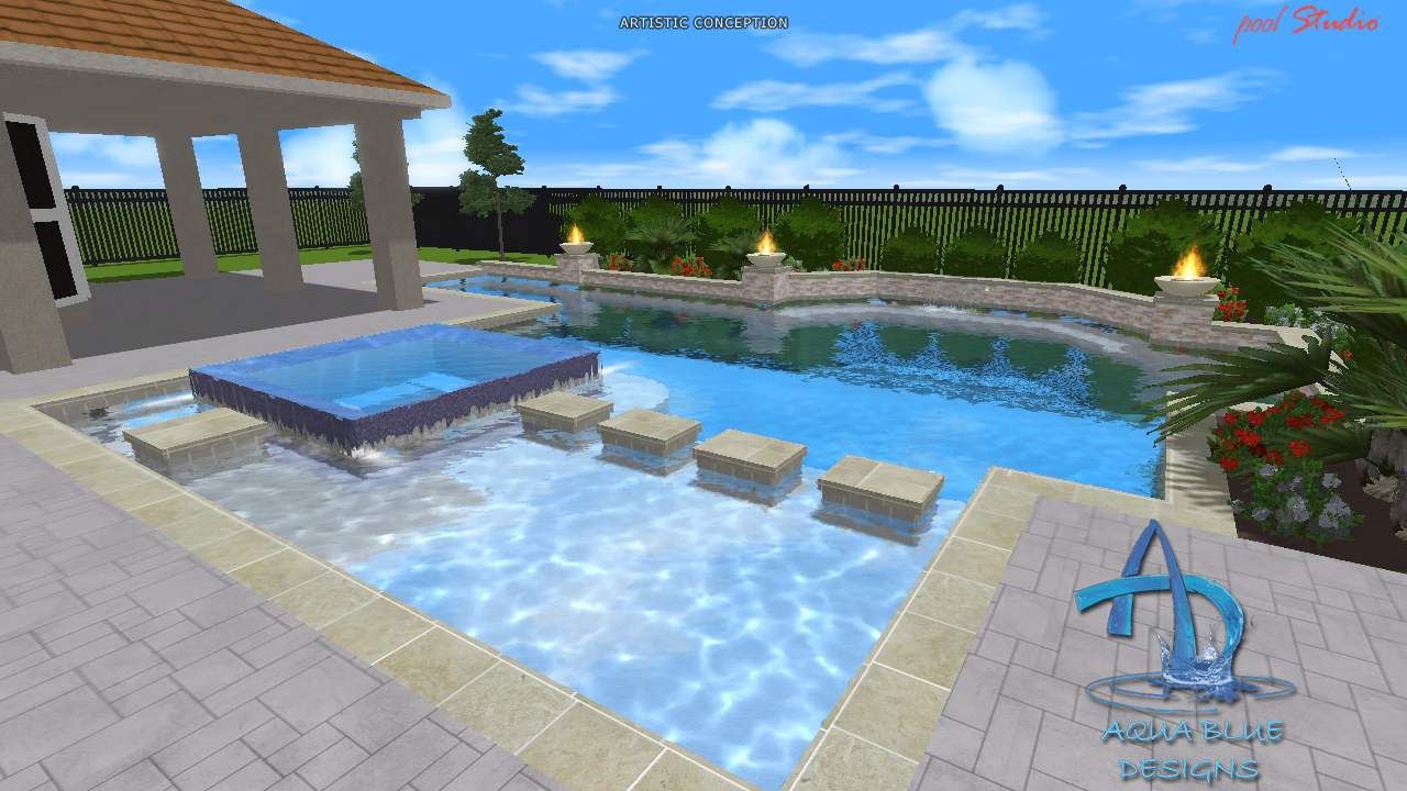 Aqua blue designs 3d pool studio designs for Pool studio 3d design