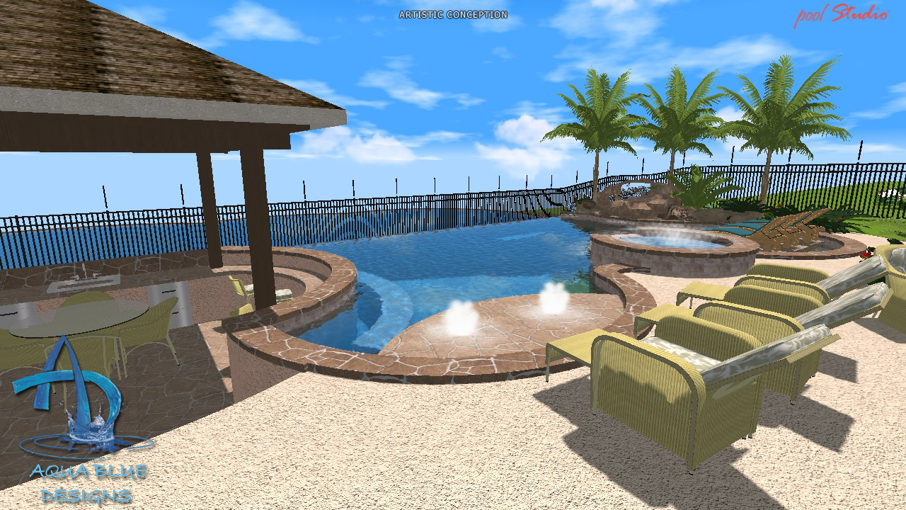 Aqua blue designs 3d pool studio designs for Pool design studio